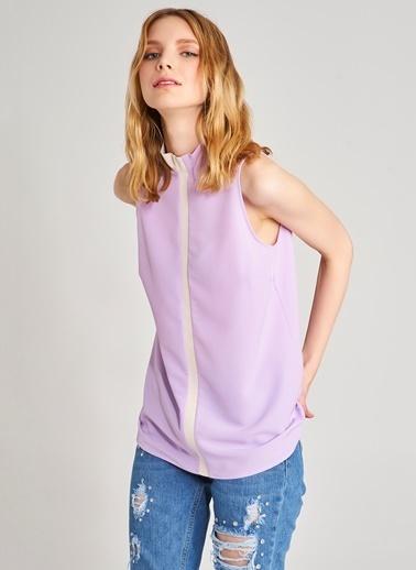 Agenda Şerit Detaylı Bluz Lila